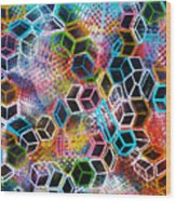Pixelated Cubes Wood Print