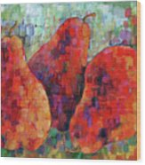 Pixelated Red Pears Wood Print