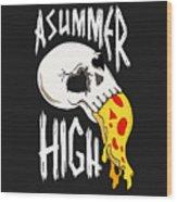 Pizza Skull Wood Print