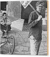 Placard Carrier No Gulf War Rally Federal Building Tucson Arizona 1991  Wood Print