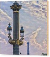 Place De La Concorde View Eiffeltower Wood Print