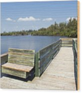 Place For Fishing Or Just Sitting At Round Island In Florida  Wood Print