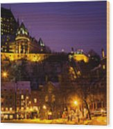 Place-royale At Twilight Quebec City Canada Wood Print