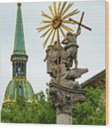Plague Column And Saint Martin Cathedral Wood Print
