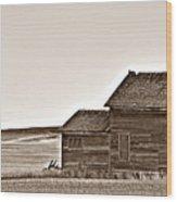 Plains Homestead Sepia Wood Print