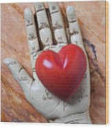 Plam Reader Hand Holding Red Stone Heart Wood Print by Garry Gay