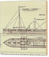 Plan Of Robert Fultons First Steamboat Wood Print by Everett