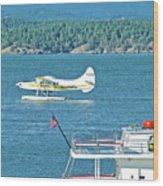 Plane Coming Into Friday Harbor On San Juan Island, Washington Wood Print