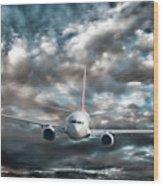 Plane In Storm Wood Print