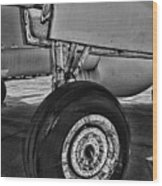 Plane - Landing Gear In Black And White Wood Print