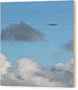 Plane Up In The Clouds Wood Print