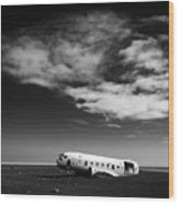 Plane Wreck Black And White Iceland Wood Print