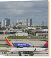 Planes By Fort Lauderdale Wood Print