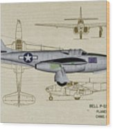 Planes Of Fame A-59 Airacomet - Profile Wood Print