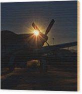 Planes Of Fame Mustang Morning Wood Print
