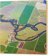 Planet Art Colorful  Midwest Aerial Wood Print