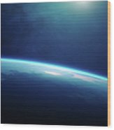 Planet Earth Sunrise From Space Wood Print
