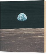 Planet Earth Viewed From The Moon Wood Print by Stockbyte
