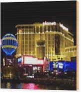 Planet Hollywood By Night Wood Print