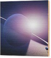 Planet Saturn Sunrise Wood Print