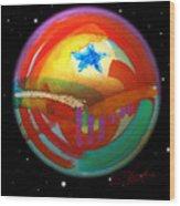 Planet Texas Wood Print