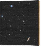 Planetary Nebula Messier 97 Owl Nebula And Galaxy Messier 108 In Constellation Ursa Major Wood Print