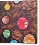 Planets At Night Wood Print