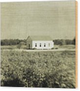 Plantation Church - Sepia Texture Wood Print