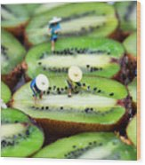 Planting Rice On Kiwifruit Wood Print by Paul Ge