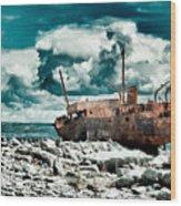 Plassey Wreck Wood Print
