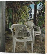 Plastic Chairs Wood Print