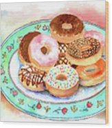 Plate Of Donuts Wood Print
