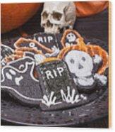 Plate Of Halloween Sugar Cookies Wood Print