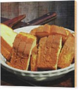 Plate With Sliced Bread And Knives Wood Print