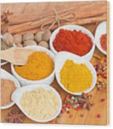 Plates Of Spices  Wood Print