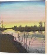 Platte River Sunrise Wood Print