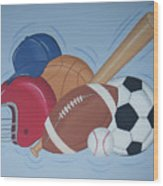 Play Ball Wood Print by Valerie Carpenter