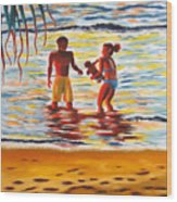 Play Day At Jobos Beach Wood Print