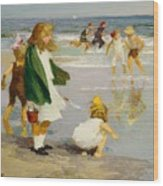 Play In The Surf Wood Print by Edward Henry Potthast