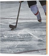 Player And Puck Wood Print