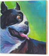 Playful Boston Terrier Wood Print by Svetlana Novikova