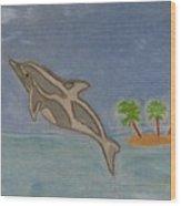 Playful Dolphin Wood Print