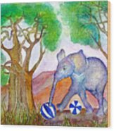 Playing By The Baobab Tree Wood Print