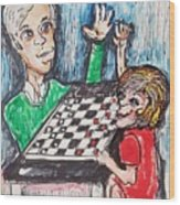 Playing Checkers Wood Print