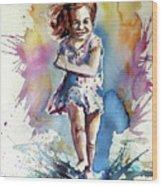 Playing Girl Wood Print
