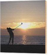 Playing Golf At Sunset Wood Print