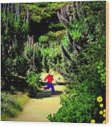 Playing In The Garden Five Wood Print
