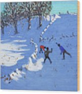 Playing In The Snow Youlgrave, Derbyshire Wood Print