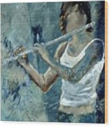 Playing The Flute Wood Print