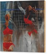Playing Volley Wood Print